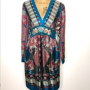 Johnny Was 100% Silk Embroidered Dress-Size Small